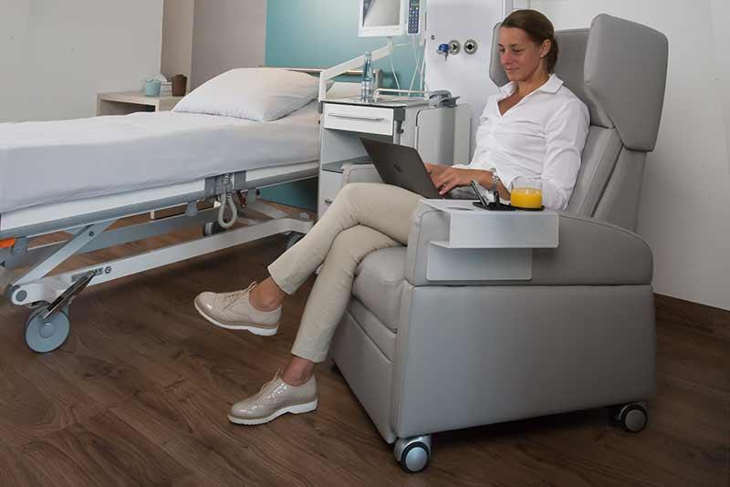 Aufstehsessel / Pflegesessel mit Liegefunktion und Rollen als Patientenstuhl